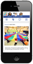 Parents can scroll through photos from their child care center