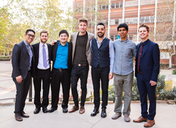 Thelonious Monk Institute of Jazz Performance at UCLA, Class of 2018 (l-r) Anthony Fung, Glenn Tucker, Jon Hatamiya, Simon Moullier, Luca Alemanno, Julio Flavio Maza Galvez, and Alexander Hahn