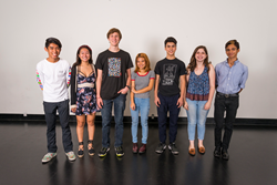 (L to R): Luke Ebora, Film; Kim Nguyen, Music; Conor Broderick, Creative Writing; Andreana How, Visual Arts; Ian Debono, Dance; Hannah Saidiner, Animation; Saul Esqueda, Theater. Photo by Tommi Cahill