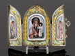 "Russian silver enamel icon triptych, marked ""84"""