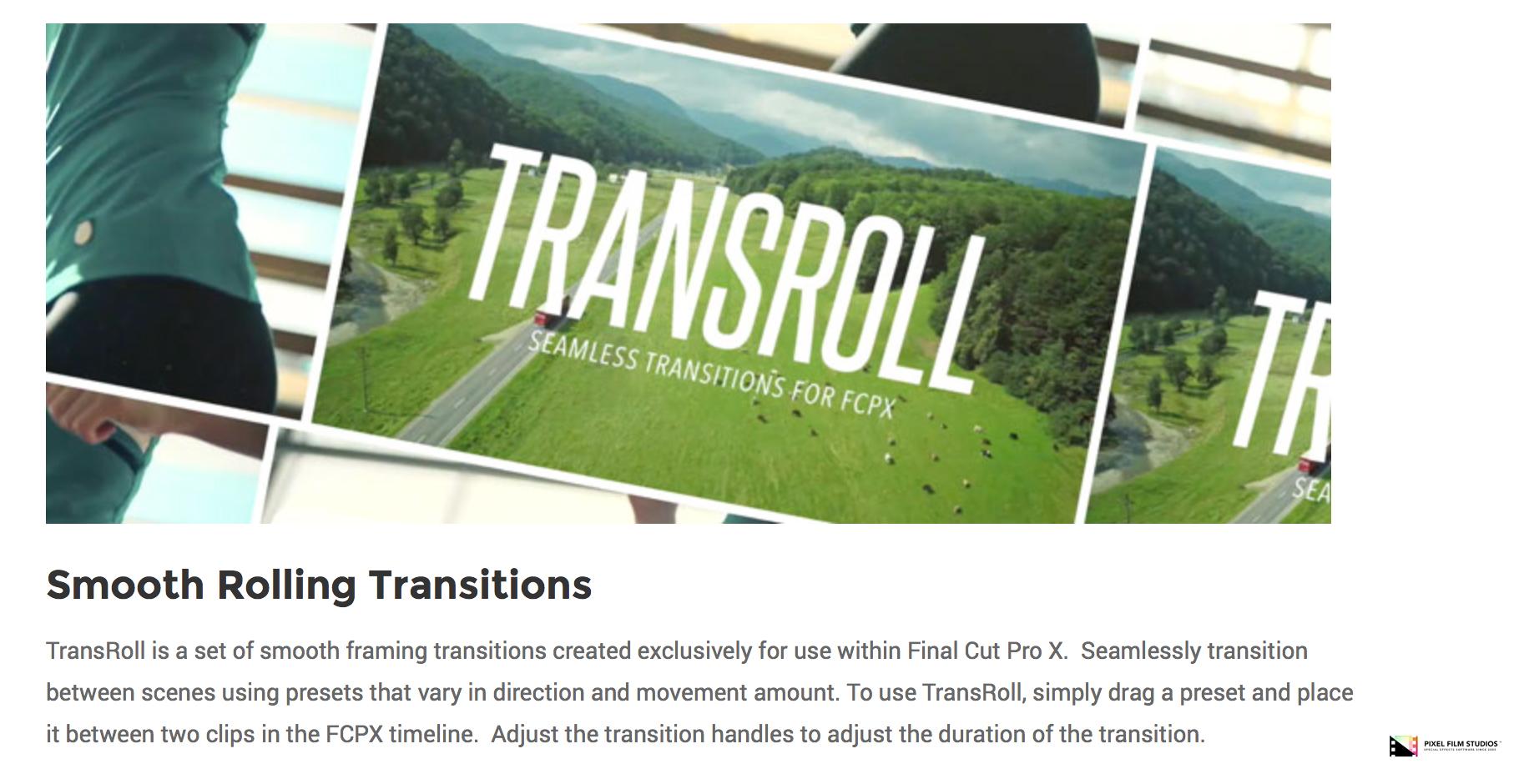 Pixel Film Studios Set to Release TransRoll for Final Cut Pro X
