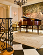music room, baby grand piano, interior design, interior designers Boston MA