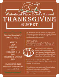 Waterfront Place Hotel Thanksgiving Buffet Menu