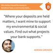 Adrian Grenier Aligns his Values with his Finances by Moving Accounts to Tom Steyer's Values-based Community Bank, Beneficial State Bank