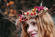 Hand-woven floral crown made from willow and dried flowers