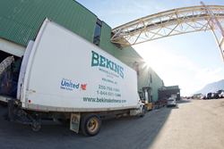 Bekins first weigh the truck at a government-approved facility. Once loaded, they'll weigh it again to determine the actual weight of the load.