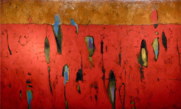 Red Event Abstract Painting By Indian Wells Arts Festival Artists Hans LadislausIndian Fine Art