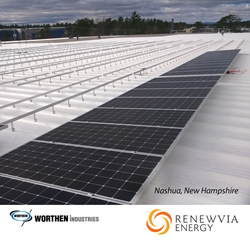 Rooftop solar panels are installed at Worthen's Nashua facility.