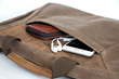 Zip Briefcase—front pocket with interior Ultraseude phone pocket