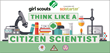 microscope, beaker, pencils, books, safety glasses, bunsen burner, girl scout logo, science
