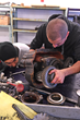 Students in a diesel mechanic class at SLCC get hands-on experience.