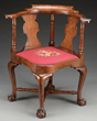 Queen Anne Transitional Walnut Ball and Claw Foot Chair realized $30,250.
