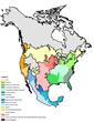 Map showing where turtles live in North America