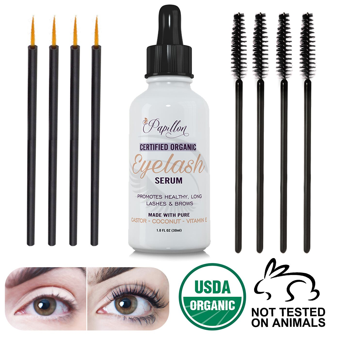 315af4fb78b Simply apply 2 to 3 drops on fingertips, or apply with included brush, and  massage into eyelashes or eyebrows daily at bedtime. eyelash growth serum  ...