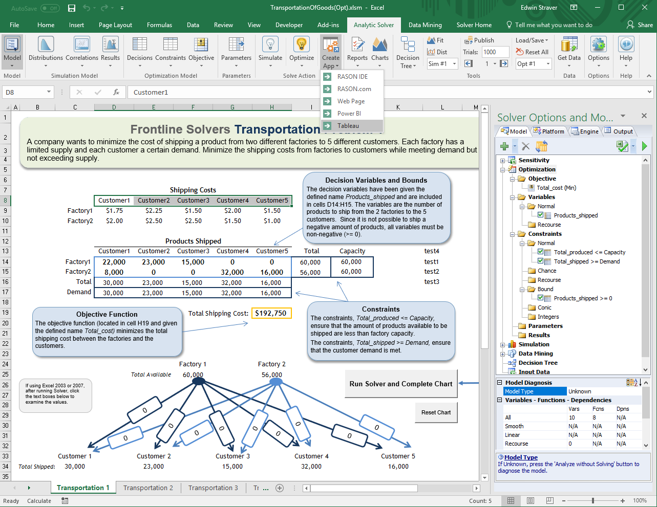 Frontline Systems Empowers Customers to Create Tableau