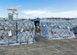 Pallets of CW4K canned drinking water with other Puerto Rico FEMA cargo