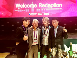 MuCon host and guitar legend Se-Hwang Kim, Radio Personality and MuCon speaker, Ken Rutkowski, Gregory Markel, and Young Chul Kim, Vice president of KOCCA.
