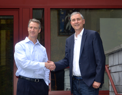 Ron Crawford (left), new CEO of Clarion Safety Systems, with founder Geoffrey Peckham (right)