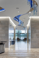 "Wimberley Glassworks ""Floating Waters"" Corporate Lobby Art Installation"