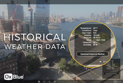 Image of OxBlue construction time-lapse camera interface showcasing the new historical weather data feature