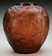 R Lalique Perruches Vase, estimated at $10,000-15,000.