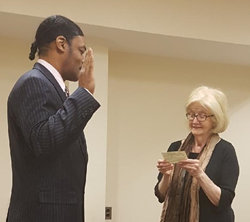 New Jersey Supreme Court Justice Virginia Long (Ret.) administers the Attorney Oath to Isaac Wright, Jr.