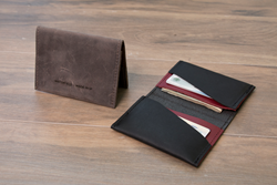 Via leather billfold wallet— in a choice of three handsome color combinations