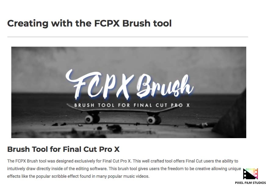 Pixel Film Studios Announces the Release of FCPX Brush for Final Cut