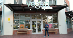 Dr. Steven Smith in front of Vegan Fine Foods in Fort Lauderdale, Florida