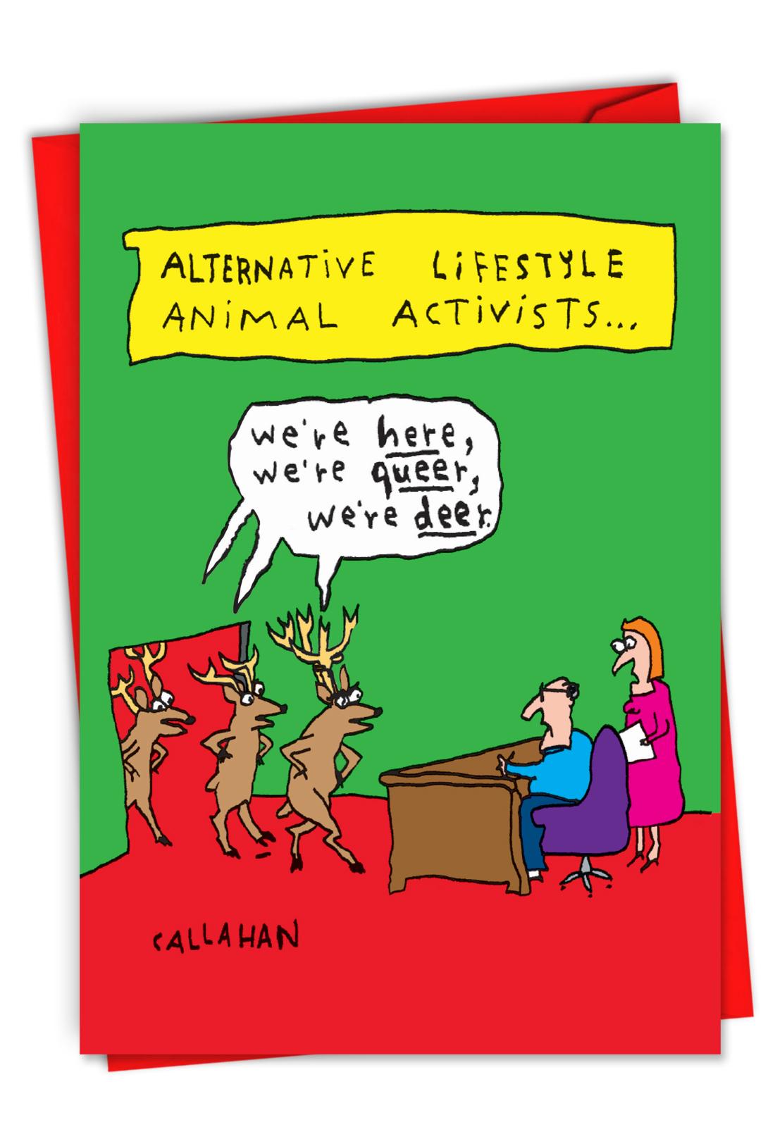 new humorous christmas card from nobleworks features the artwork of famed quadriplegic cartoonist john callahan - Humorous Christmas Cards