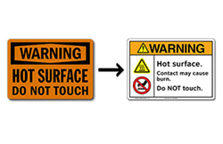 Example of a typical OSHA-style safety sign with it's ANSI-style counterpart