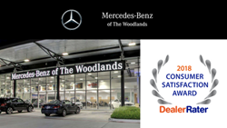 Mercedes-Benz of The Woodlands is awarded Dealer Rater's 2018 Consumer Satisfaction Award