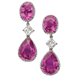 Pink Sapphire Earrings by Jeffrey Bilgore.  2 oval pink sapphires (8.42 tcw.), 2 pear-shaped pink sapphires (13.91tcw.), and 2 asscher cut diamonds (1.54 tcw.), with 153 round diamonds,set in platinum