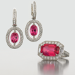 Platinum Mahenge Tanzanian Spinel Set by Jeffrey Bilgore. 7.92 ct Octagon Cut Unheated red spinel ring, with diamonds, set in platinum 3.11 tcw. oval red spinel earrings, with diamonds,set in platinum