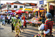 People walking and shoppers in Ghana's capital (Accra)