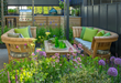 Outdoor lounging and outdoor kitchen at the Gaze Burvill stand at the RHS Chelsea Flower Show 2018