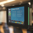 Touch10 Interactive Room Sign is a sleek new unit with a 10-inch screen that displays event calendars, allows room scheduling at the sign, and extends digital signage playlists to meeting rooms.