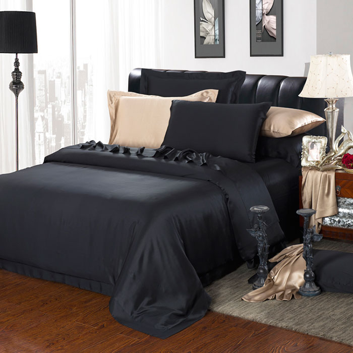 30 Momme Silk Bedding Sets BlackSilk