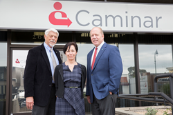 "Jim Stansberry, Karen Gianuario, and Charles ""Chip"" Huggins at Caminar's San Mateo headquarters."