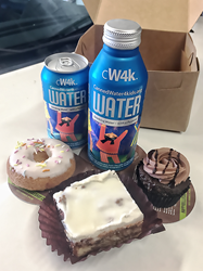 Ice-cold cw4k Canned water and Happy Bellies Bakery. mmmmm!