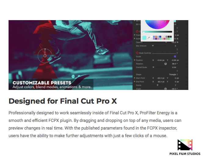 Pixel Film Studios Releases ProFilter Energy for Final Cut