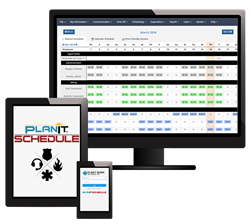 New PlanIt Schedule interface on phone, tablet, and desktop.