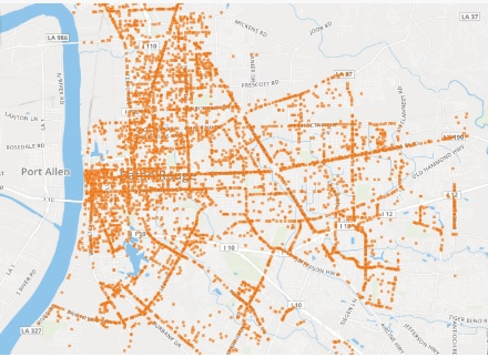 Lavis Law Firm Releases Interactive Map of Baton Rouge Car