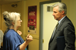 Linda Hurley, President/CEO of CODAC, welcomes Sen. Sheldon Whitehouse to the organization's Providence facility and begins a guided tour.