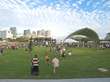 Civitas designed the park with a large central lawn to provide freeform space for games and relaxation and to open up dramatic views of downtown Tampa.