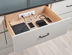 The new Blade Duo in-drawer charging outlet from Docking Drawer.