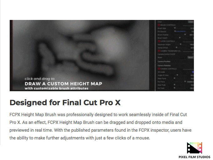 Pixel Film Studios Unveils FCPX Height Map Brush for Final