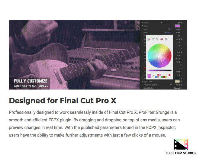 Pixel Film Studios Releases ProFilter Grunge for Final Cut