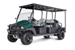 The Carryall 1700 six-passenger utility vehicle with automatic all-wheel drive carries three crews over wet, rough terrain.