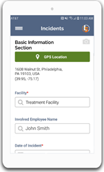 The Initial Incident Form shown within IndustrySafe's Mobile App